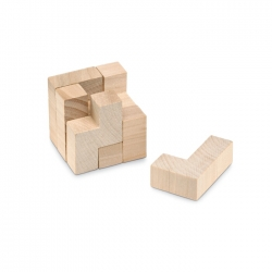 Wooden puzzle in cotton pouch