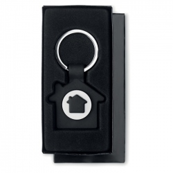 House shaped key ring with token