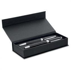 Ballpen and rollerball in paper box