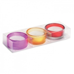 Set of 3 glass tea light holder