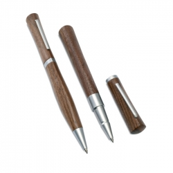 Wooden roller and ball pen set
