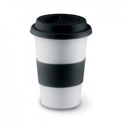 Ceramic mug with lid and sleeve