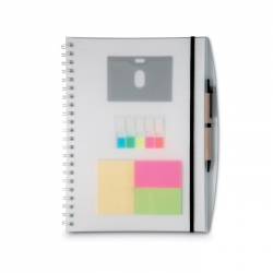 A4 notebook and sticky notes