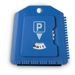 Parking timer with ice scrapper