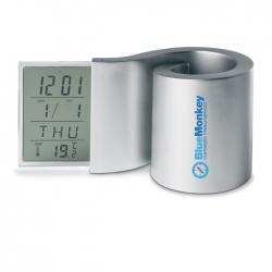 LCD clock with pen holder