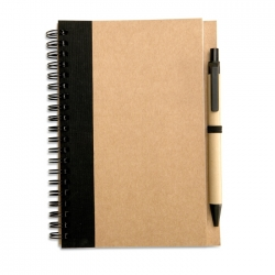 Recycled paper notebook + pen