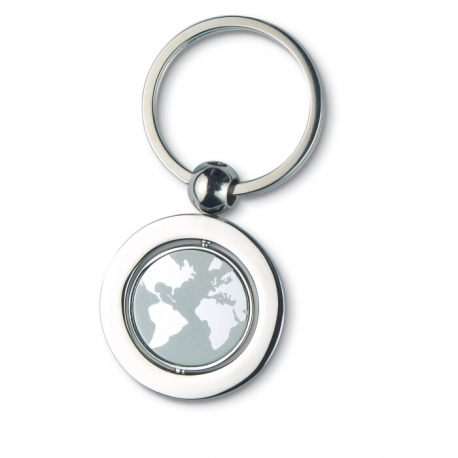 Globe metal key ring