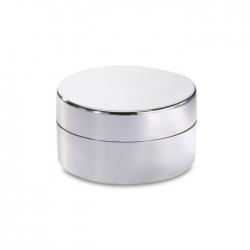 Vanilla flavoured lip balm in a shiny silver round box
