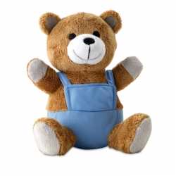 Bear plush with advertising pants