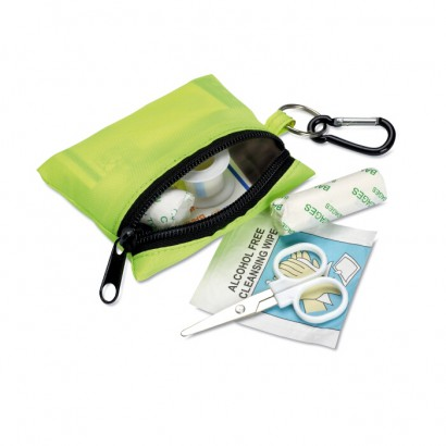 First aid kit with carabiner