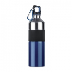 Bicolour stainless steel drinking bottle with rubber grip and carabiner hook 750 ml