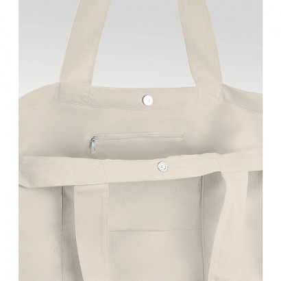 Beachbag cotton 280 gr/m2 (10oz) natural with insi