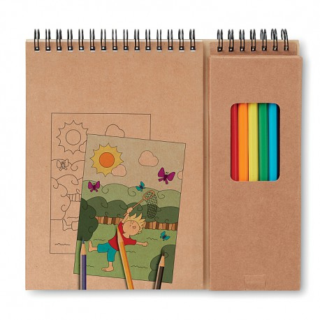8 color pencils with 24 pages drawing book