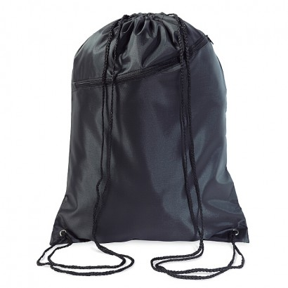 Large polyester drawstring bag with black zipper &