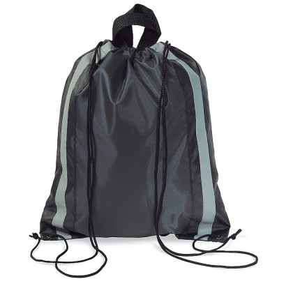 Polyester drawstring bag with reflective features