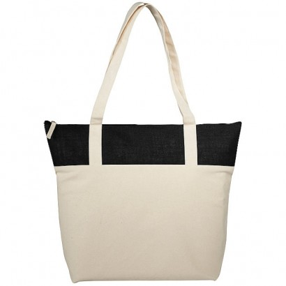 Jute and cotton zipped tote