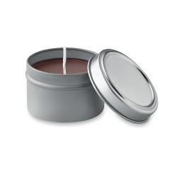 Small candle in tin box