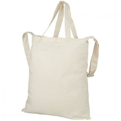 Cotton tote with short handles, shoulder strap, and open main compartment