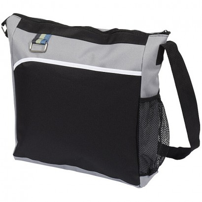 Shoulder bag with a zipped main compartment