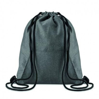 Drawstring bag in two tone fleece fabric with front pocket