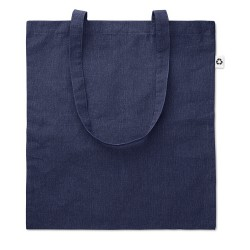 2 tone 100% cotton shopping bag with long handles