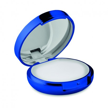 Metallic finished natural lip balm with mirror in lid