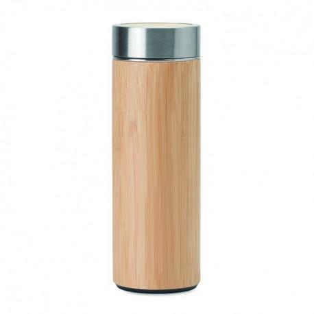Double wall stainless steel / bamboo mug 400 ml