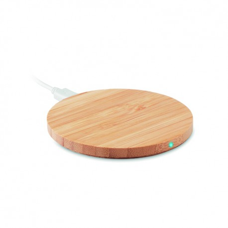round wireless charger bamboo promotiongift