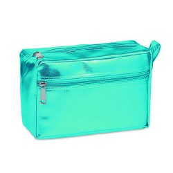 Cosmetic bag with double zipper