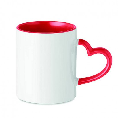Ceramic mug 300 ml capacity with heart shaped handle and special coating for sublimation