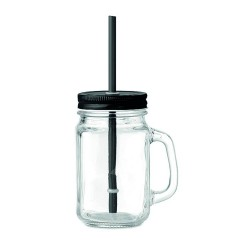 450 ml glass mason jar with handle and tin lid