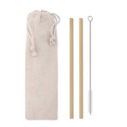 Set of 2 reusable bamboo straws , stainless steel-nylon cleaning brush in cotton pouch