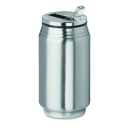 Stainless steel double wall vacuum insulated can shaped tumbler with foldable mouthpiece 250 ml