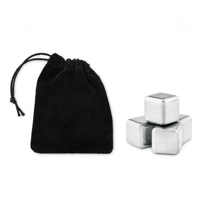 Set of 4 reusable stainless steel ice cubes in velvet pouch
