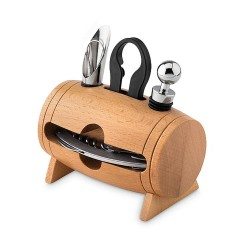 Wooden stand with 4 wine accessories