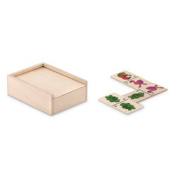 28 pieces kids domino game presented in wooden box