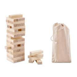 Wooden toppling tower (54 blocks) in cotton carrying pouch