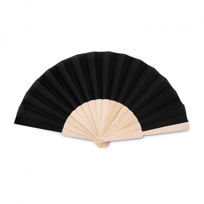Manual hand fan in wood with polycotton fabric