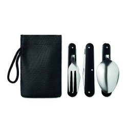 Camping cutlery set in stainless steel with aluminium handle