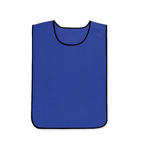 Polyester sports vest with reinforced neck and armholes and elastic side straps