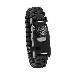 Multifunctional safety bracelet with quick release buckle, incorporating compass, whistle, fire starter