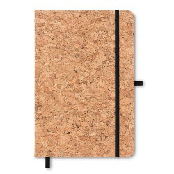 A5 notebook 96 lined paper with cork cover, pen loop and elastic band for closure