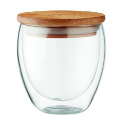 Double wall high borosilicate glass with bamboo lid with silicone ring, 250 ml