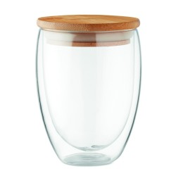 Double wall high borosilicate glass with bamboo lid with silicone ring, 350 ml