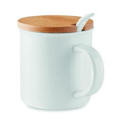 Porcelain mug with spoon and bamboo lid, 380 ml