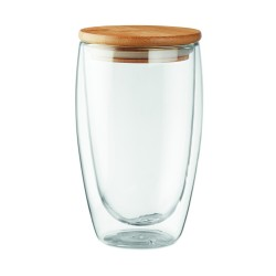 Double wall high borosilicate glass with bamboo lid with silicone ring, 450 ml
