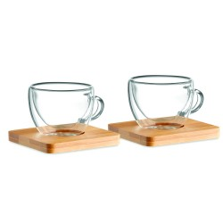 Set of 2 double wall espresso glasses with bamboo saucer, 90 ml