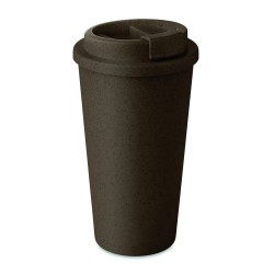 Double wall tumbler in 50% bamboo fibre and 50% PP with lid