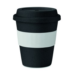 Single wall tumbler in 50% bamboo fibre and 50% PP with silicone grip, 350 ml
