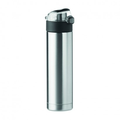 Double wall drinking bottle in stainless steel with security lock on the lid and press-to-open option, 400 ml